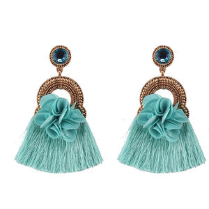 NIRUMON Flower Studs Tassel Design Fashion Earrings - Blue - NIRUMON