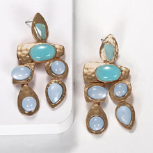 Load image into Gallery viewer, NIRUMON Gems Inlaid Golden Statement Earrings - NIRUMON