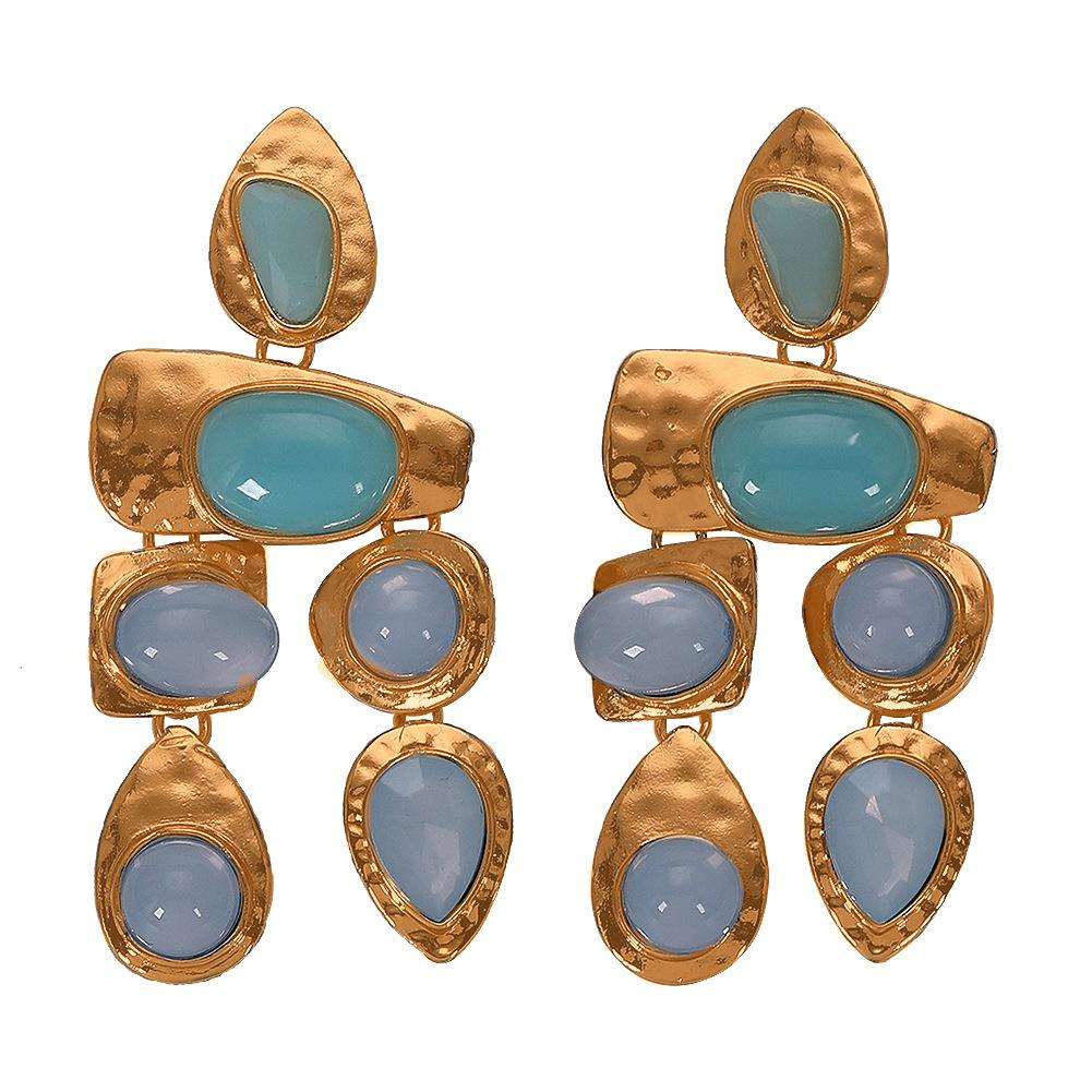 NIRUMON Gems Inlaid Golden Statement Earrings - NIRUMON