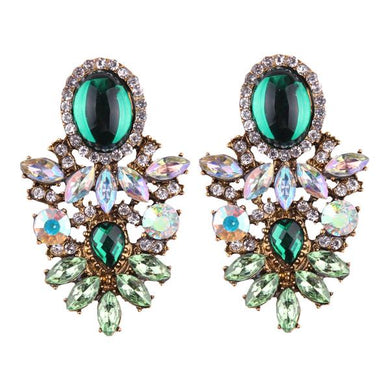 NIRUMON Artificial Diamond & Emerald Stone Statement Earrings - NIRUMON