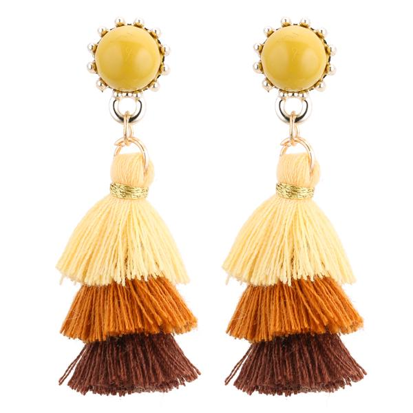 NIRUMON Yellow Sunflower Studs Tassel Fashion Earrings - NIRUMON