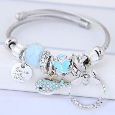 NIRUMON Assorted Pendants Silver Bangle - Blue - NIRUMON