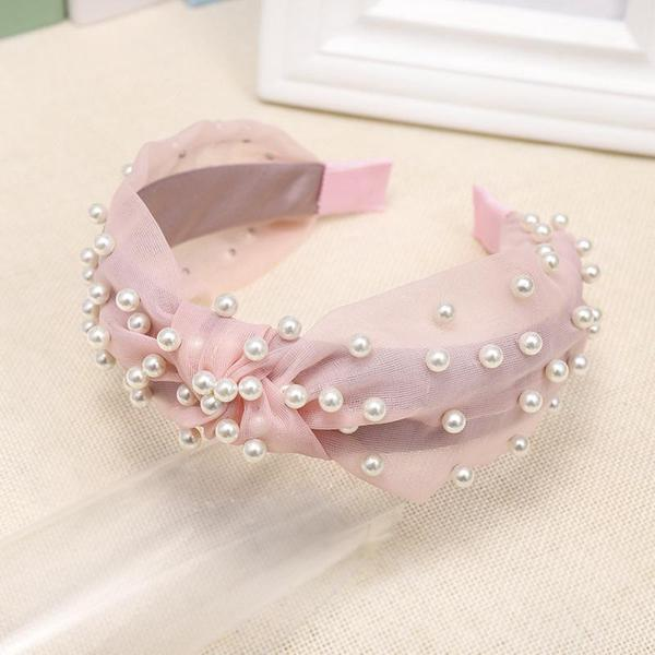 NIRUMON Pearl Mild Mesh Light Pink Hairband - NIRUMON