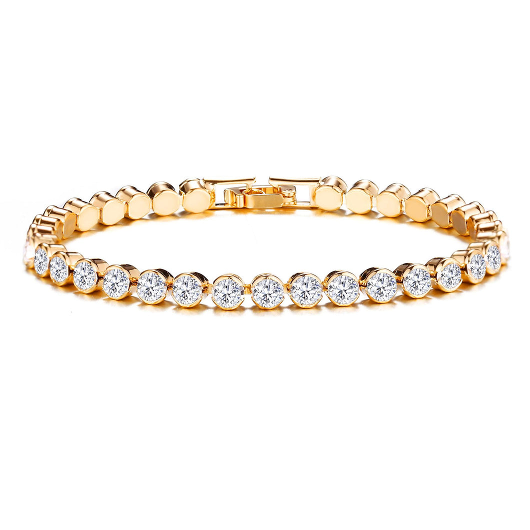 NIRUMON Roman Crystals Inlaid Single Row Golden Statement Bracelet - NIRUMON