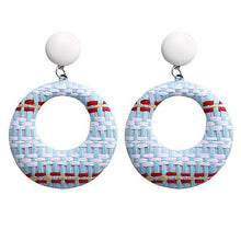 Load image into Gallery viewer, NIRUMON White Studs Earthy Color Woven Hoop Design Fashion Earrings - NIRUMON