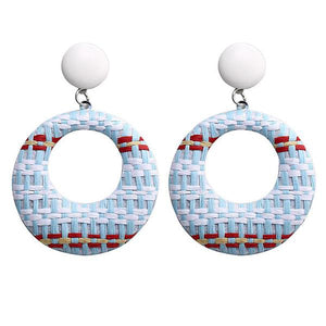 NIRUMON White Studs Earthy Color Woven Hoop Design Fashion Earrings - NIRUMON