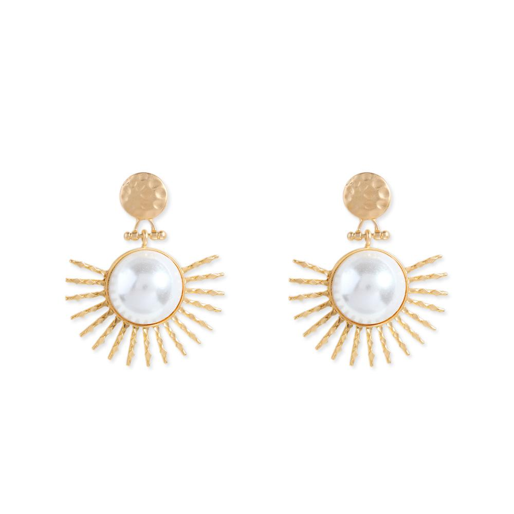 NIRUMON Large Pearls Inlaid Sunflower Design Golden Statement Earrings - NIRUMON