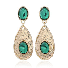 Load image into Gallery viewer, NIRUMON Gems Inlaid Waterdrop Design Golden Statement Earrings - NIRUMON