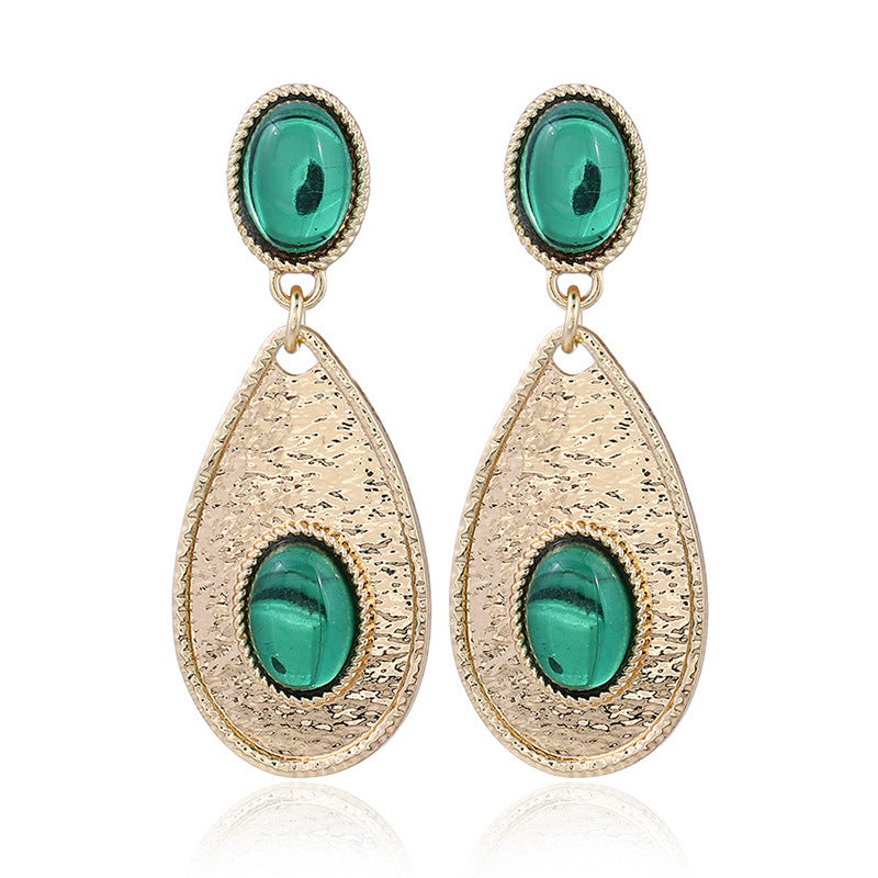 NIRUMON Gems Inlaid Waterdrop Design Golden Statement Earrings - NIRUMON