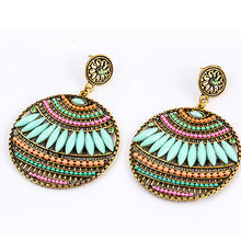 Load image into Gallery viewer, NIRUMON Turquoise Beads Geometric Design Fashion Earrings - NIRUMON