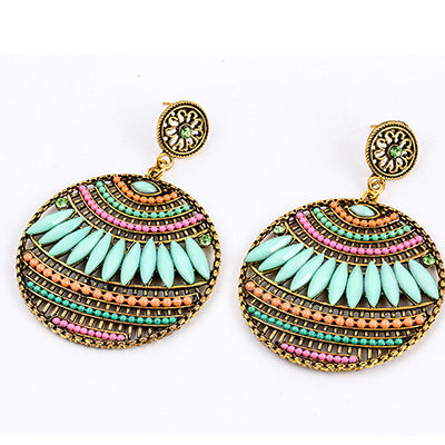 NIRUMON Turquoise Beads Geometric Design Fashion Earrings - NIRUMON