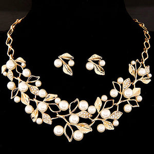 NIRUMON Rhinestone Inlaid Waterdrop Design Statement Necklace & Earrings Set - NIRUMON