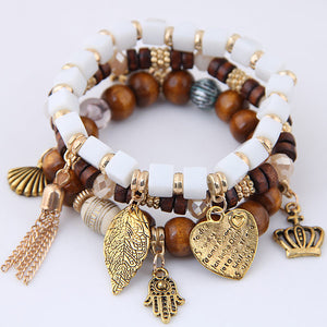 NIRUMON Multiple Pendants Wooden Golden & White Beaded Layered Fashion Bracelet - NIRUMON