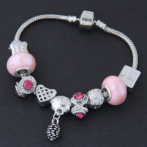 NIRUMON Pink & Silver Beaded Alloy Fashion Bracelet - NIRUMON