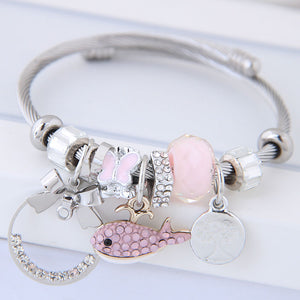 NIRUMON Assorted Pendants Silver Bangle - Pink - NIRUMON