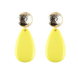 NIRUMON Acrylic Yellow Gem Dangling Waterdrop Coarse Button Design Fashion Earrings - NIRUMON