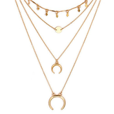 NIRUMON Alloy Arch and Sequins Triple Layers Golden Fashion Necklace - NIRUMON