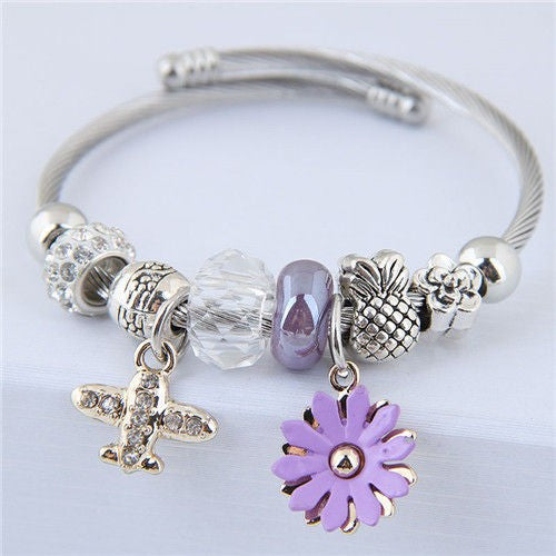 NIRUMON Daisy and Plane Pendants Beads Fashion Bracelet - NIRUMON