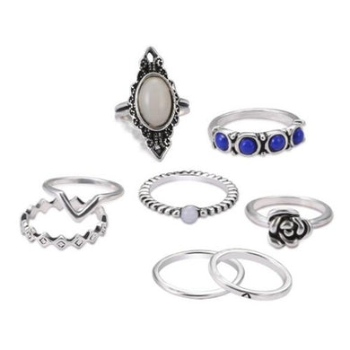 NIRUMON Gem Inlaid 8 pcs Vintage Rings Combo Jewelry Set - NIRUMON