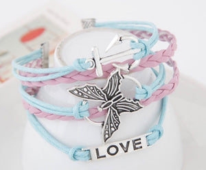 NIRUMON Butterfly & Heart Pendant Wide Fashion Bracelet - NIRUMON