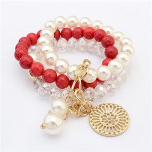 NIRUMON Pearls, Beads & Crystal Layered Statement Bracelet - NIRUMON