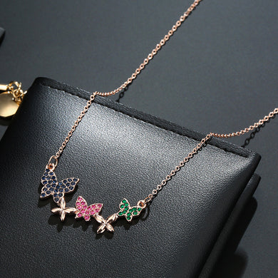 NIRUMON Three Butterfly Pendants Delicate Chain Necklace - NIRUMON