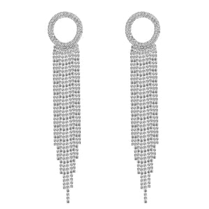 NIRUMON Diamonds & Rhinestone Inlaid Long Tassel Design Statement Earrings - NIRUMON