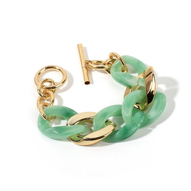 NIRUMON Sea Green & Golden Acrylic Chunky Bracelet