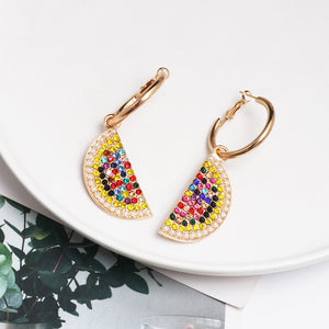 NIRUMON Rhinestone Inlaid Watermelon Design Hoop Statement Earrings - NIRUMON
