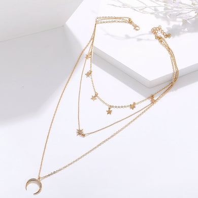 NIRUMON Moon & Stars Layered Golden Necklace