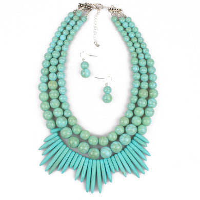 NIRUMON Turquoise Beaded Layered Handmade Necklace & Earrings Set - NIRUMON
