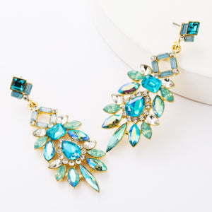 NIRUMON Rhinestone & Diamonds Inlaid Statement Dangler Earrings - NIRUMON
