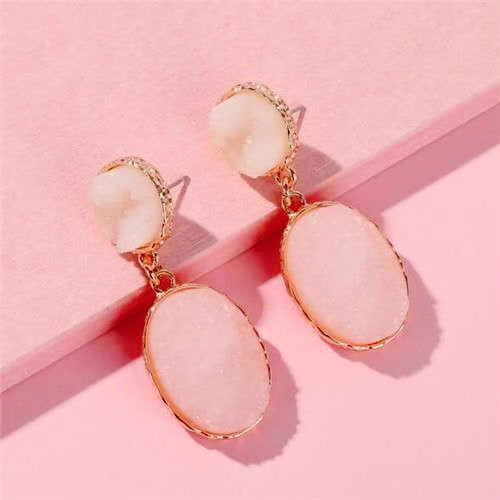 NIRUMON Shining Stone Oval Design Fashion Earrings - NIRUMON
