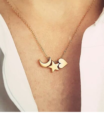 NIRUMON Heart Moon & Star Pendant Golden Necklace - NIRUMON