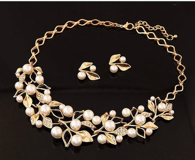NIRUMON Pearl Inlaid Leaf Design Elegant Necklace & Earrings Set - NIRUMON