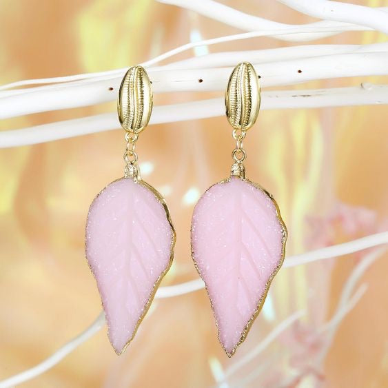 NIRUMON Resin Leaf Design Sea Shell Golden Stud Statement Earrings