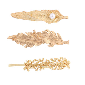 NIRUMON Pearl Inlaid Leaf Design Bridal Golden Hair clips - NIRUMON