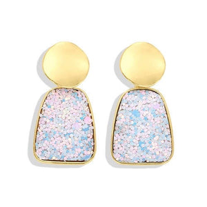 NIRUMON Light Blue Glitter Geometric Design Statement Earrings - NIRUMON