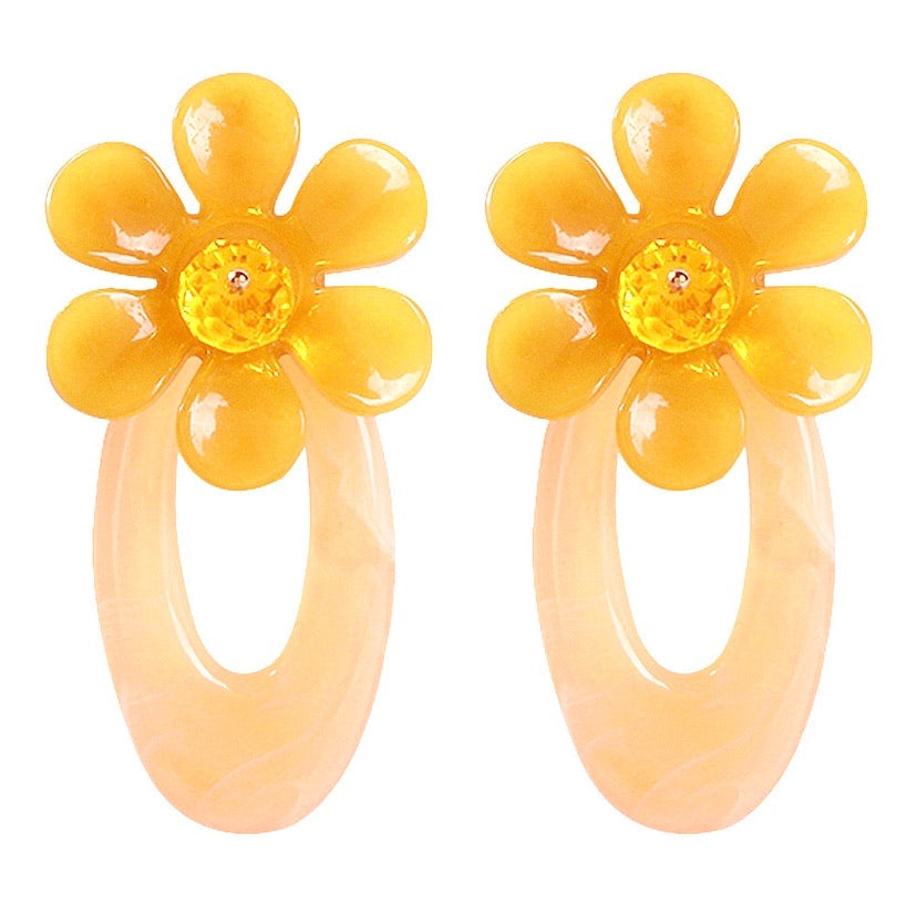 NIRUMON Flower Design Stud with Waterdrop Design Acrylic Fashion Earrings - NIRUMON