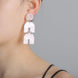 NIRUMON Geometric Design Long Acrylic Dangler Earrings