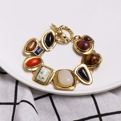 NIRUMON Coloured Stones Vintage Chunky Bracelet