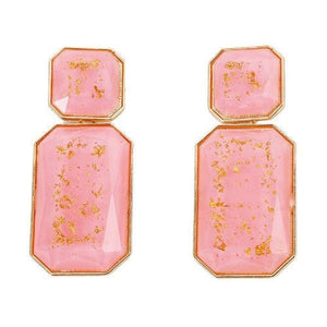 NIRUMON Resin Gem Geometric Design Statement Earrings - NIRUMON