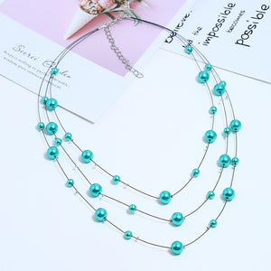 NIRUMON Turquoise Beaded Handmade Layered Necklace