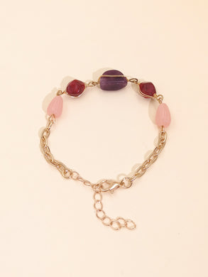 NIRUMON Coloured Crystal Golden Statement Bracelet