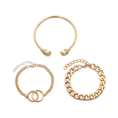 NIRUMON Chunky Chains and Bangle 3 Set Golden Bracelets - NIRUMON