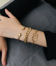 Load image into Gallery viewer, NIRUMON Chunky Chains and Bangle 3 Set Golden Bracelets - NIRUMON