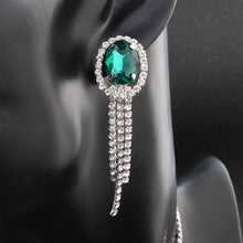 Load image into Gallery viewer, NIRUMON Artificial Emerald & Rhinestone Inlaid Classy Necklace & Earrings Set - NIRUMON