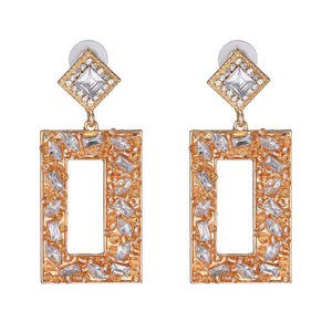 NIRUMON Diamond Inlaid Rectangular Design Statement Earrings - NIRUMON