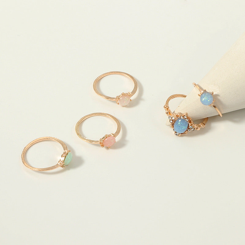 NIRUMON Rhinestone Inlaid Floral Ring Set - NIRUMON