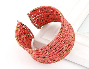 NIRUMON Open Ended Design Handmade Beaded Wide Fashion Bracelet - NIRUMON